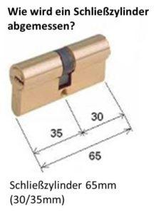 Darstellung Vermessung des Schließzylinders