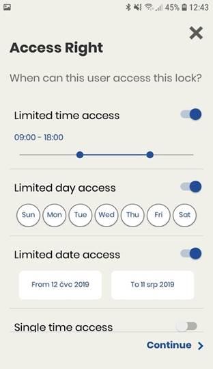 Smart Handle Zuweisung Zugangsberechtigung für Türklinke